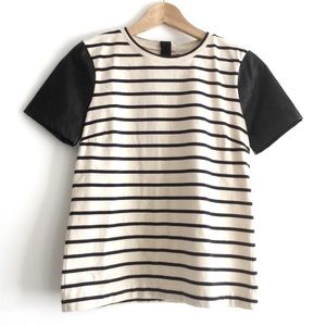J.Crew XS 100% Cotton T-shirt faux Leather sleeves